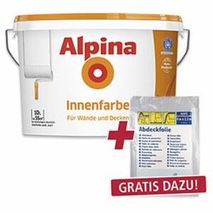 Alpina Innenfarbe 10 Liter, hochdeckend, Reichweite: ca. 55 m²  • GRATIS DAZU! 1 Abdeckplane 4 x 2,5 m im Wert von 0,99 € neben der Ware