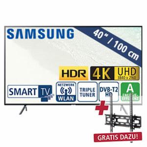 "40""-Ultra-HD-LED-TV UE40NU7189 • HbbTV • 3 HDMI-/ 2 USB-Anschlüsse, CI+ • 20 Watt RMS • Stand-by: 0,5 Watt, Betrieb: 63 Watt • Maße: H 53,2 x B 91,4 x T 5,9 cm • Energie-Effizienz A (Sp"
