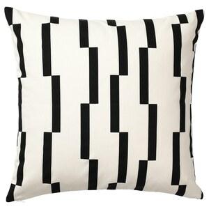 KINNEN                                Kissenbezug, weiß, schwarz, 50x50 cm