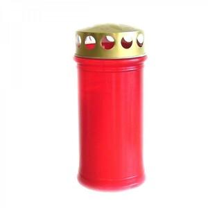 Grablicht 12cm 120g Kunststoff rot Golddeckel