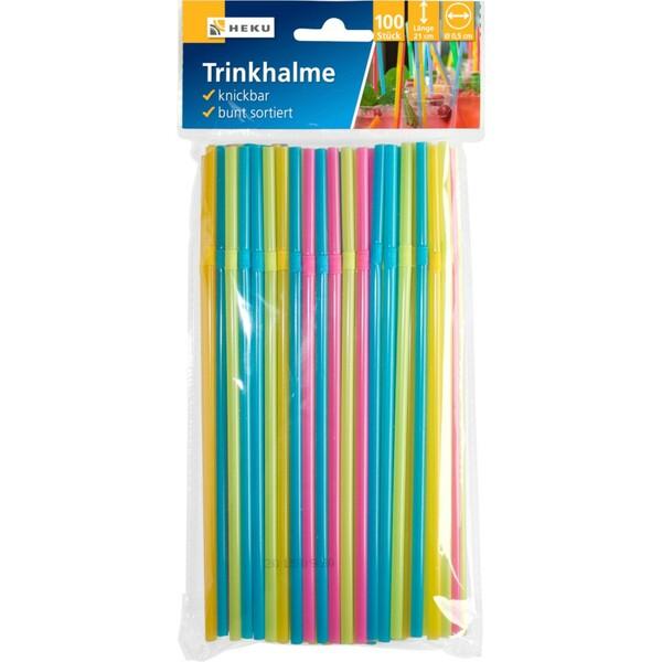 Trinkhalme 100 Stück knickbar bunt sortiert
