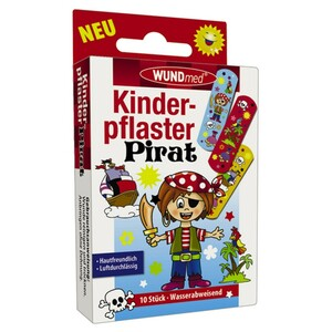 Kinderpflaster 10 Stück Pirat hautfreundlich