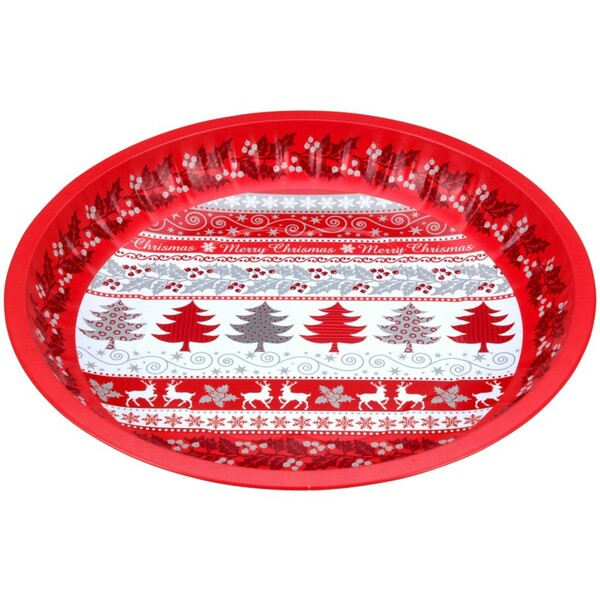 Tablett rund 25,5cm Metall Weihnachtsmotiv