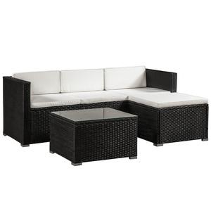 ArtLife Polyrattan Lounge Sitzgarnitur Punta Cana M schwarz mit Bezügen in Creme