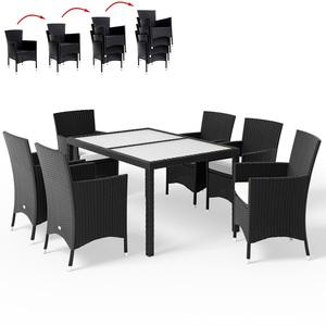 DEUBA® Poly Rattan Sitzgruppe 6+1 Schwarz | stapelbare Stühle | 7cm dicke Sitzauflagen | wetterfestes Polyrattan | waschbare Bezüge - Lounge Sitzgarnitur Gartenmöbel Set