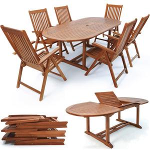Deuba® Sitzgruppe Vanamo 6+1 | 6 Stühle klappbar ausklappbarer Tisch Eukalyptusholz | Sitzgarnitur Gartengarnitur Essgruppe Gartenmöbel Set