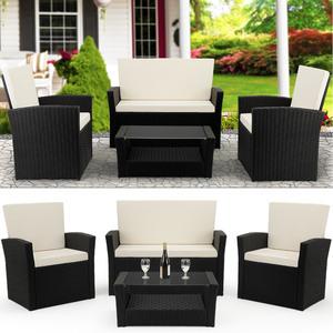 Deuba Poly Rattan Lounge Set Schwarz I 2 Sessel + Bank & Tisch I 7cm dicke Auflagen I Sitzgruppe Balkon Garten Gartenmöbel Balkonmöbel Set