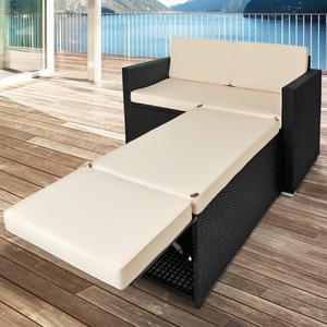 DEUBA® Poly Rattan Gartenbank Schwarz| inkl. Sitztruhe mit Stauraum | 7cm dicke Auflagen | wasserabweisend -  Sonnenliege Sofa Couch Lounge Gartenmöbel Set