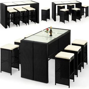 DEUBA® Poly Rattan 6+1 Bar Set | 6 Hocker + Tisch | 7cm dicke Sitzauflagen | wetterfest, UV-lichtbeständig | Glastischplatte -Sitzgruppe Sitzgarnitur Gartenbar Garten Gartenmöbel