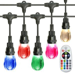 AREOUT Farbwechsel Lichterkette Außen mit 18 Schlagfeste Acrylglühlampen, 36FT, Hochleistungs-LED-Außenlichterketten Cafe Lights, Handelsübliche Qualität, Wasserdicht, Fernbedienung inklusive