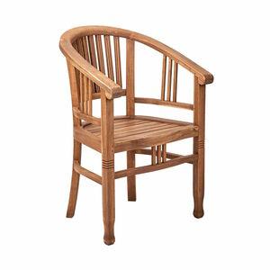Butlers Teak Time Stuhl mit runder Armlehne braun