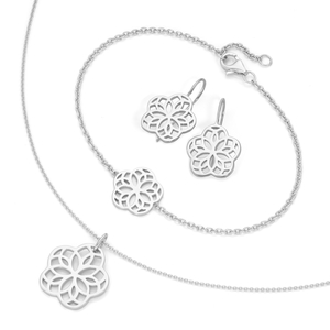 Smart Jewel Schmuckset Armband, Kette und Ohrhaken in Blütenoptik