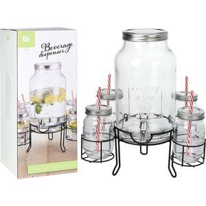 Getränkespender 4,5 l mit Halter und 4 Gläsern farblos