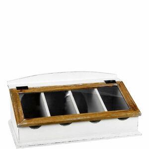 Butlers Campagne Besteckkasten mit Glasdeckel weiss weiß