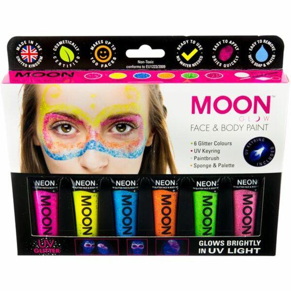 Schminke Glitter UV-Licht