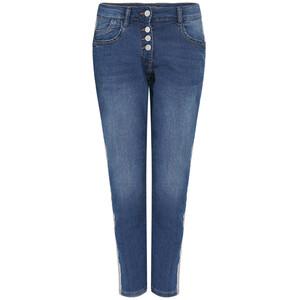 7/8 Damen Boyfriend-Jeans mit Galonstreifen