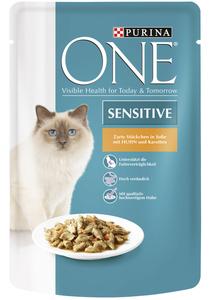 One Cat Sensitive Zarte Stückchen in Soße mit Huhn und Karotten 85 g