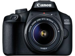 CANON EOS 4000D Kit Spiegelreflexkamera, 18 Megapixel, Full HD, 18-55 mm Objektiv (EF-S), WLAN, Schwarz