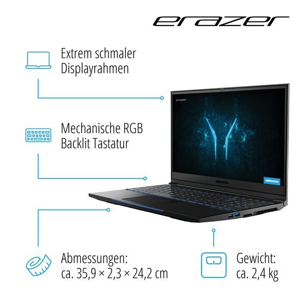 MEDION ERAZER® X15807, Intel® Core™ i7-9750H, Windows 10 Home, RTX 2060, 39,6 cm (15,6'') FHD Display, 512 GB PCIe SSD, 1 TB HDD, 16 GB RAM, High-End Gaming Notebook