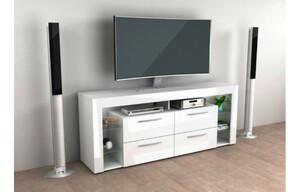TV-Highboard weiß/weiß Hochglanz