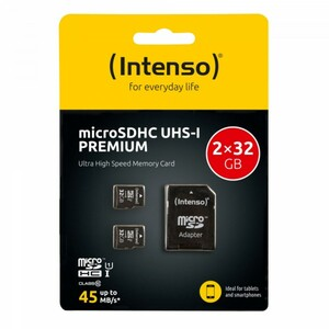 Intenso Speicherkarte microSDHC ,  2 x 23 GB, Class 10
