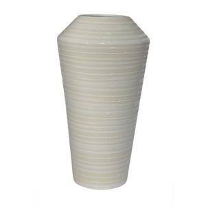 Keramik Vase mit umlaufender Kante H 35 /Ø 19 STRIPES EDGE Weiß gestreift