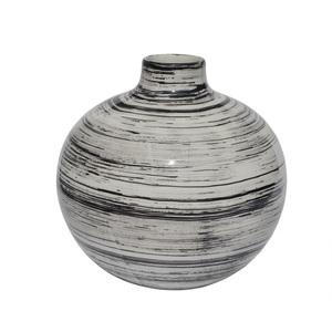 RATTERMANN Vase aus Keramik H 20 /Ø 20 WIPED Weiß/Schwarz gewischt