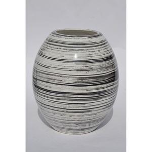 RATTERMANN Vase aus Keramik H 21 /Ø 18 WIPED Weiß/Schwarz gewischt