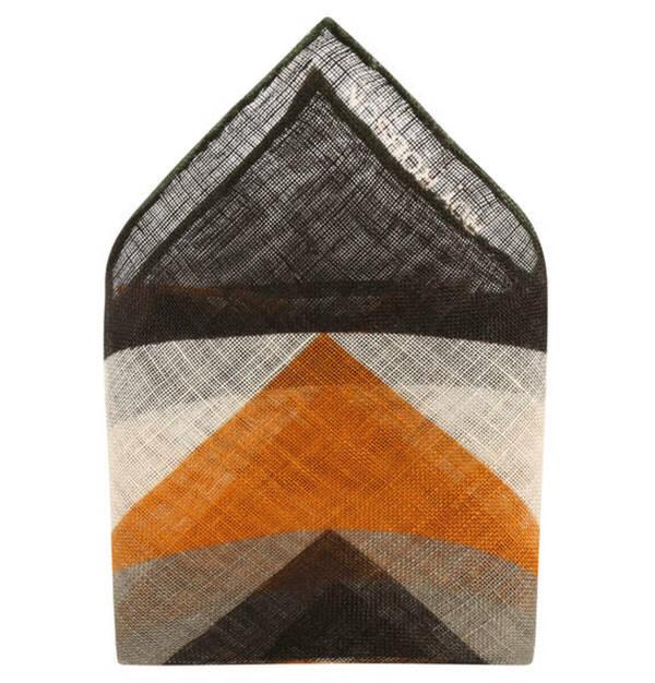 ROY ROBSON             Einstecktuch, Leinen, gesäumt, geometrisches Muster