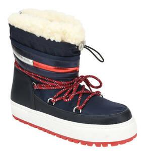 TOMMY JEANS             Snowboots, Teddyfell, Schnürung, Tunnelzug, Logostreifen
