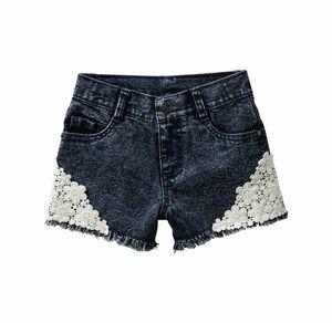 Kids Mädchen-Jeans-Shorts mit Spitzenverzierung