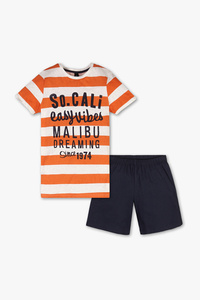 Here and There         Shorty-Pyjama - Bio-Baumwolle - 2 teilig - gestreift