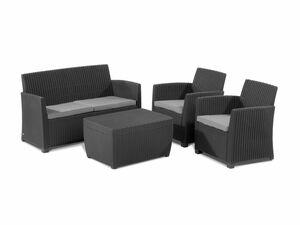 Allibert Loungemöbel Corona inkl. Tisch mit integrierter Kissenbox  Lounge Set 4-teilig rattanoptik