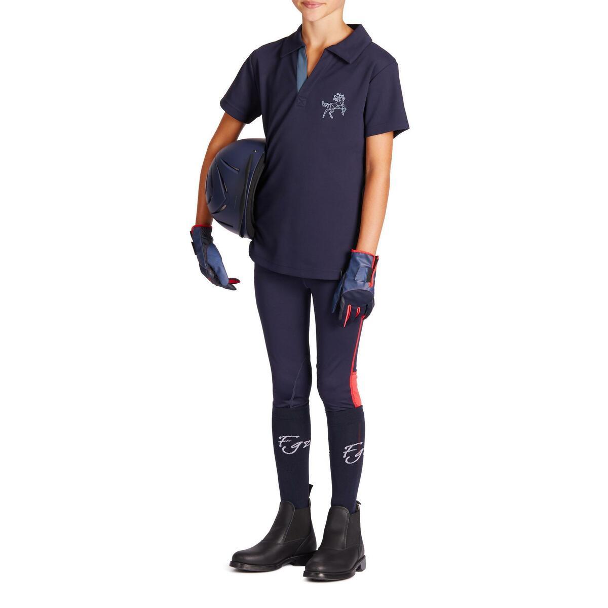 Bild 3 von Reithose 100 Light Kniebesatz Kinder marineblau/rosa