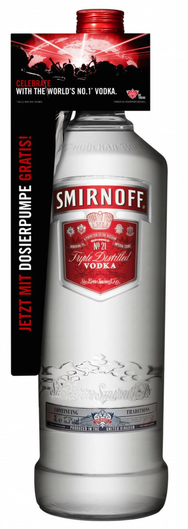 Smirnoff Red No. 21 Premium Vodka Triple Destilled - 3 L mit Pumpe