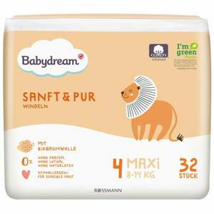 Babydream Windeln Sanft & Pur Maxi Größe 4, 8-14 kg