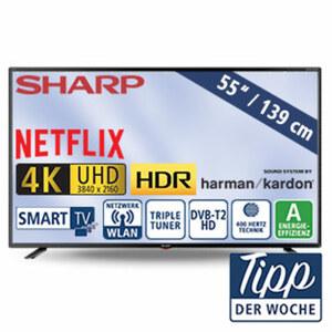 "55""-Ultra-HD-LED-TV 55BJ3E • HbbTV • 3 HDMI-/USB-Anschlüsse, CI+, SD-Kartenslot • 2 x 10 Watt RMS • Stand-by: 0,5 Watt, Betrieb: 110 Watt • Maße: H 71,8 x B 123,9 x T 8,3 cm • Energie-E"