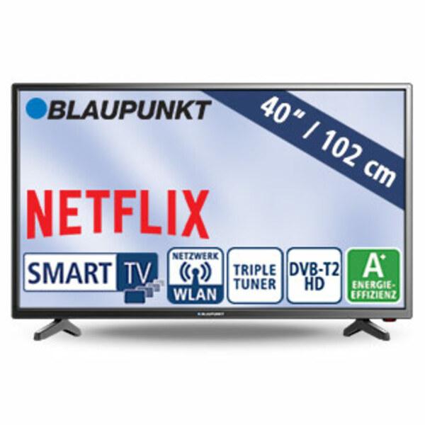 "40""-FullHD-LED-TV BLA-40/138M • 3 HDMI-/2 USB-Anschlüsse, CI+ • Stand-by: 0,5 Watt, Betrieb: 48 Watt • Maße: H 54,1 x B 92 x T 8,3 cm • Energie-Effizienz A+ (Spektrum A++ bis E)"