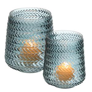 Dragimex, Windlichtglas, blau, 15,5 Ø x 18,5 cm H, 64492
