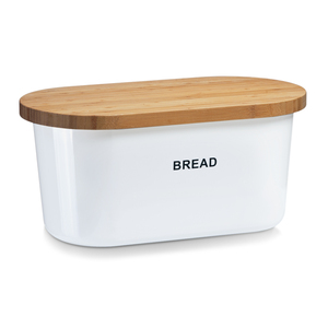 Zeller Brotkasten, weiß, Melamin/Bambus