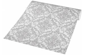 Vliestapete weiß mit Ornamentmuster grau Glitzer