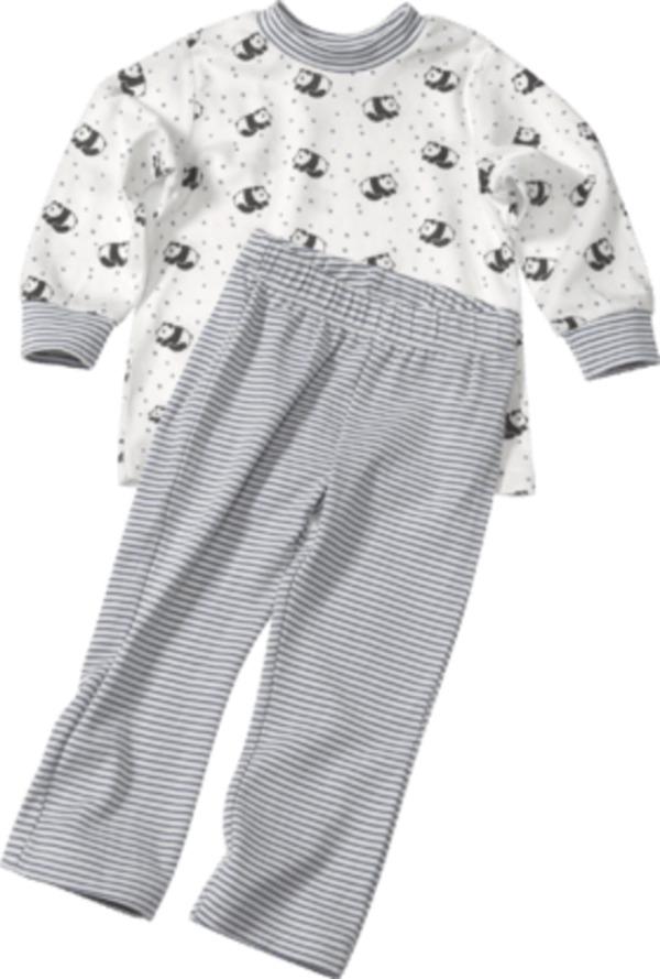 ALANA Kinder-Schlafanzug, Gr. 98, in Bio-Baumwolle und Elasthan, weiß, blau, für Mädchen und Jungen