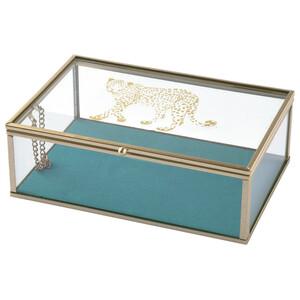 Glasbox mit Leopard-Print