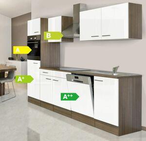 Respekta Küchenprogramm Eiche York Küchenzeile 280 cm inkl. E- Geräte & Mineralite Einbauspüle, weiß