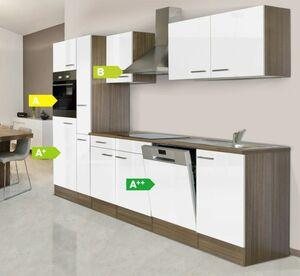 Respekata Küchenprogramm Eiche York Küchenzeile 310 cm inkl. E-Geräte & Mineralite Einbauspüle, weiß
