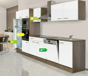 Respekta Küchenprogramm Eiche York Küchenzeile 340 cm inkl. E-Geräte & Mineralite Einbauspüle, weiß