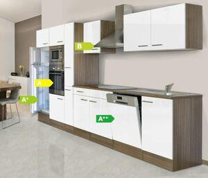 Respekta Küchenprogramm Eiche York Küchenzeile 370 cm inkl. E-Geräte & Mineralite Einbauspüle, weiß