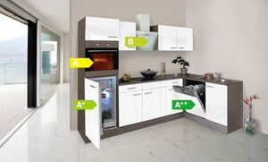 Respekta Küchenprogramm Eiche York Winkelküche 280 cm inkl. E-Geräte & Mineralite Einbauspüle, weiß