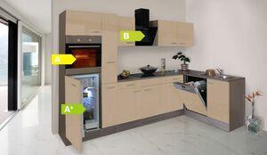 Respekta Küchenprogramm Eiche York Winkelküche 310 cm inkl. E-Geräte & Mineralite Einbauspüle, cappuccino