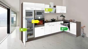 Respekta Küchenprogramm Eiche York Winkelküche 340 cm inkl. E-Geräte & Mineralite Einbauspüle, weiß